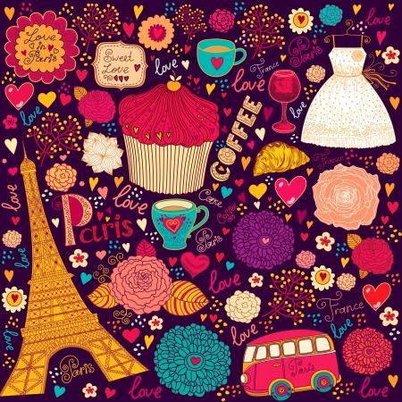 love wallpaper: set of Paris symbols Illustration