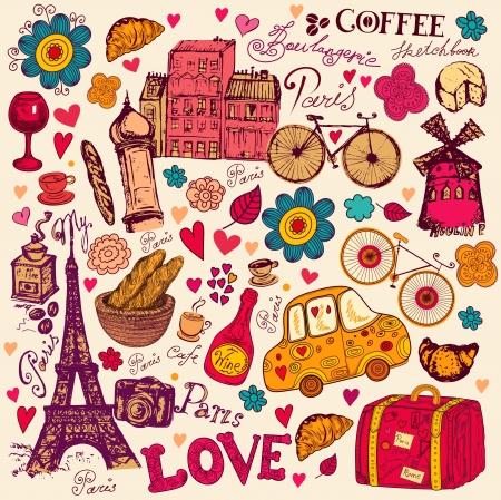 Modèle avec des symboles de Paris Banque d'images - 15383676