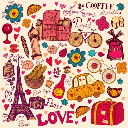 pattern with Paris symbols Ilustrace