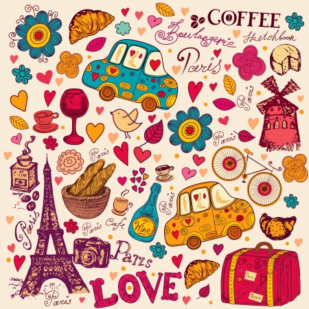 romantic getaway:  pattern with Paris symbols