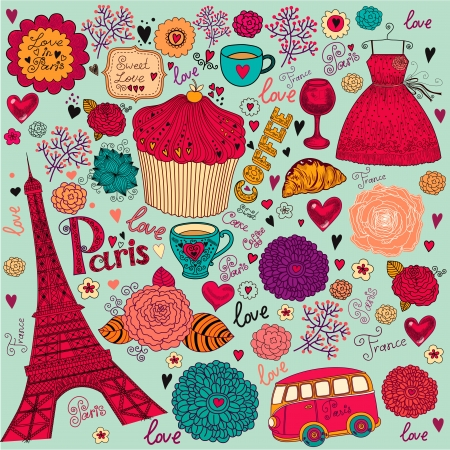 fashion boutique: set of Paris symbols Illustration