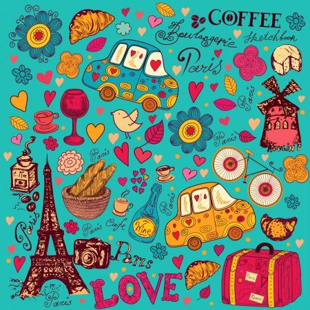 paris vintage: patrón de símbolos de París Vectores