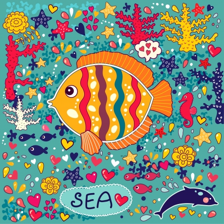 funny travel:  wallpaper with fish Illustration