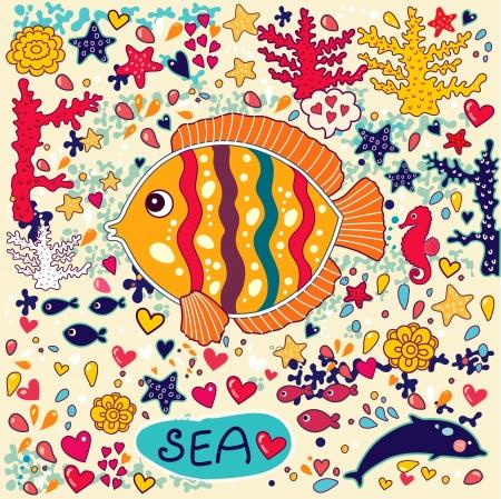 caballo de mar: fondo de pantalla con peces y vida marina