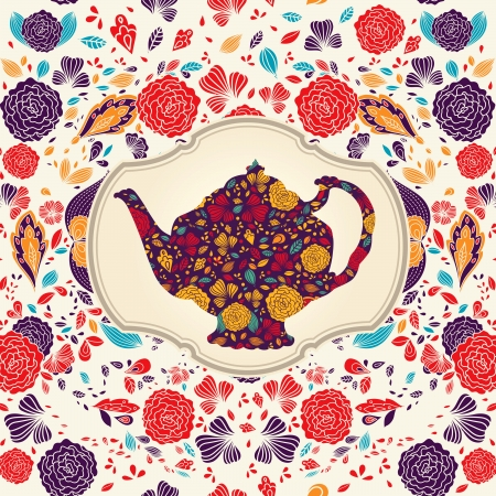 tea time: template with teapot Illustration