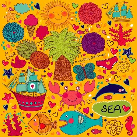 caballo de mar: Conjunto de elementos sobre el tema del verano y los viajes Vectores
