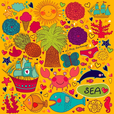 sea horse: Set of elements on the topic of the summer and travel