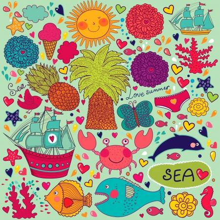 Conjunto de elementos sobre el tema del verano y los viajes