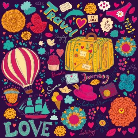 romantic travel:  pattern with travel symbols Illustration