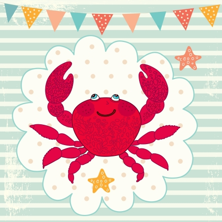 striped illustration with crab Vector