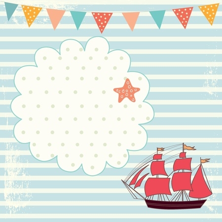Sea blue striped illustration with sail boat Vector