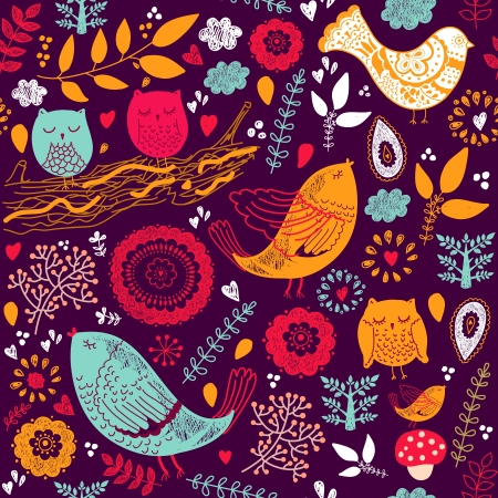 bird on branch: Seamless  floral pattern Illustration
