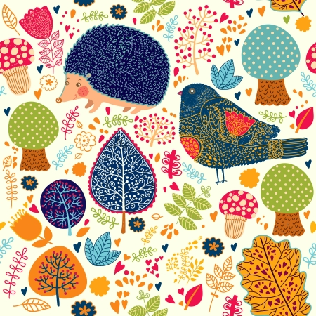 wrapping animal: Autumn seamless pattern with flowers, trees, leaves and crew cut Illustration