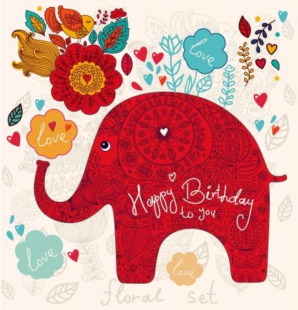 꽃과 코끼리와 함께 아름 다운 카드 일러스트