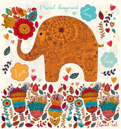 birth day: Beautiful  card with flowers and elephant