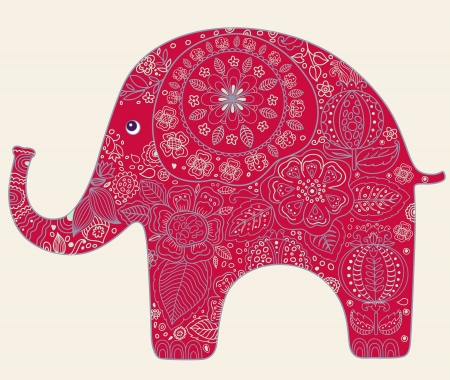 Belle carte avec des fleurs et des éléphants Banque d'images - 15384103