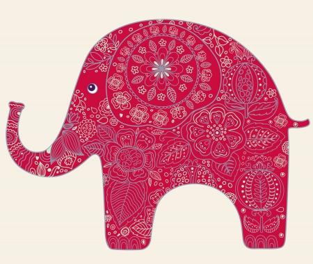 elefante: Tarjeta hermosa con las flores y el elefante Vectores