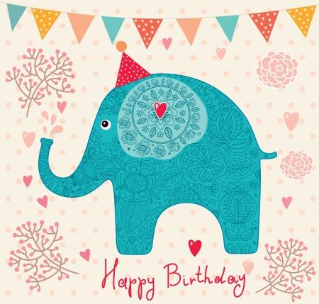 Holiday Card con elefante Archivio Fotografico - 15383856