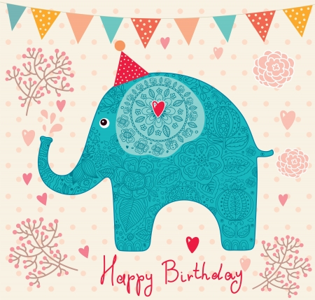 anniversary vintage: holiday card with elephant