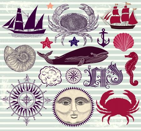 anchor drawing:  set of marine symbols Illustration