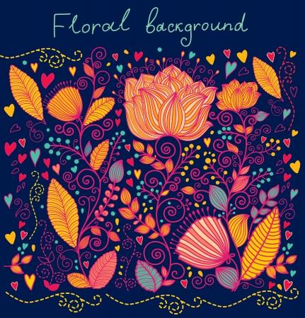 Beau fond floral orné Banque d'images - 15383860