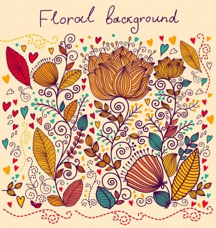 아름 다운 화려한 꽃 배경 일러스트