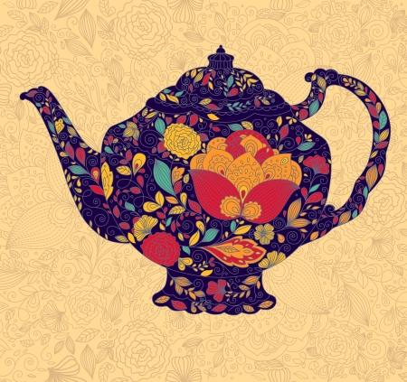sierlijke achtergrond met theepot Vector Illustratie