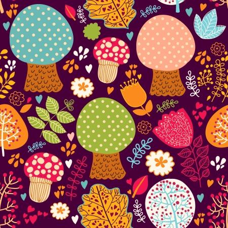 Seamless pattern con fiori, foglie e alberi Archivio Fotografico - 15384288