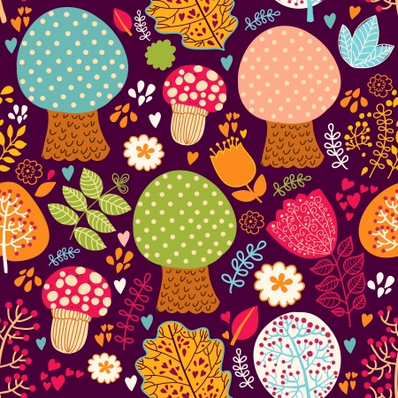 Seamless pattern with flowers, leaves and trees Vector