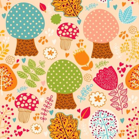 Seamless pattern avec des fleurs, des feuilles et des arbres Banque d'images - 15384287