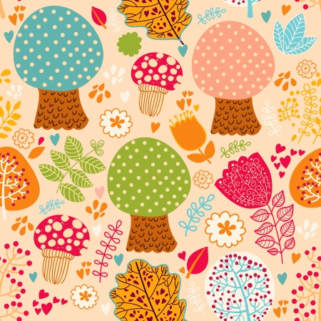 Seamless pattern with flowers, leaves and trees