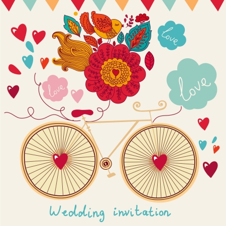 Vector holiday card with bicycle and flowers