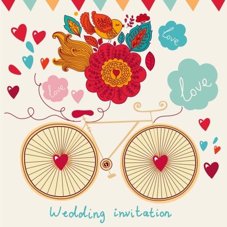 Vector tarjeta de vacaciones con la bicicleta y flores Foto de archivo - 15382558