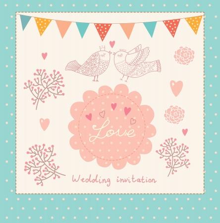 bird box: Vector holiday card with birds