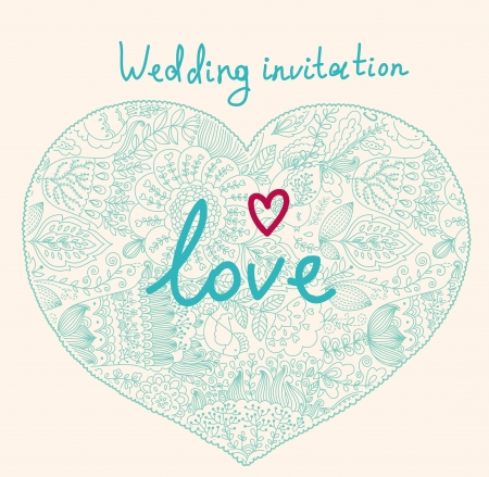 Wedding invitation with heart Vector