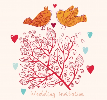 Wedding invitation  Floral pattern with tree and birds