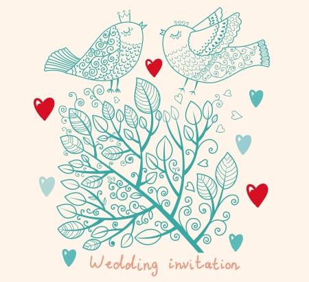 boom met vogels: Uitnodiging van het huwelijk Bloemen patroon met boom en vogels Stock Illustratie