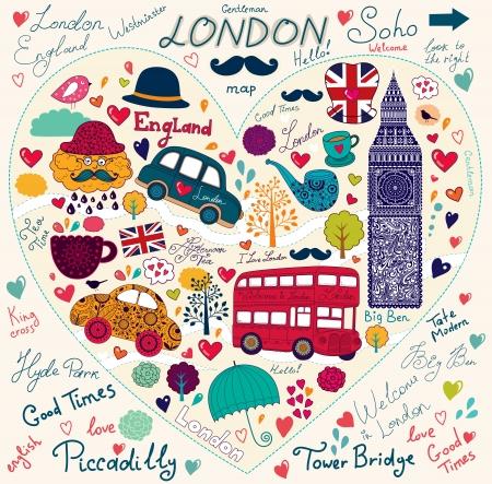 bandera inglaterra: Vector conjunto de s�mbolos y monumentos de Londres Vectores