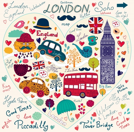 england: Vector set of London symbols and landmarks