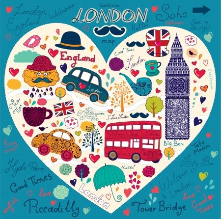 bus anglais: Vector set of London symboles et des repères