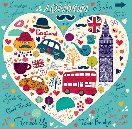 Vector set of London symbols and landmarks Vector