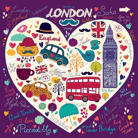 londres autobus: Vector conjunto de s�mbolos y monumentos de Londres Vectores