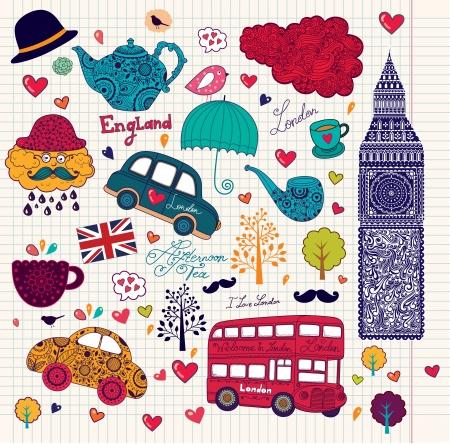 Vector set of London symbols and landmarks