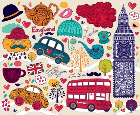 streets of london: Vector set of London symbols and landmarks