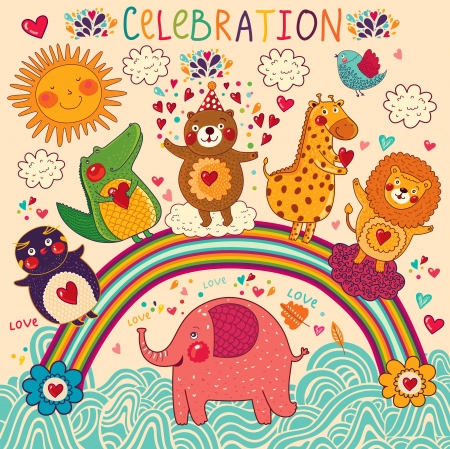 dessin enfants: Vector set of funny, animaux heureux