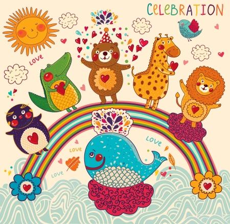 happy birthday cartoon: Vector set of funny, happy animals
