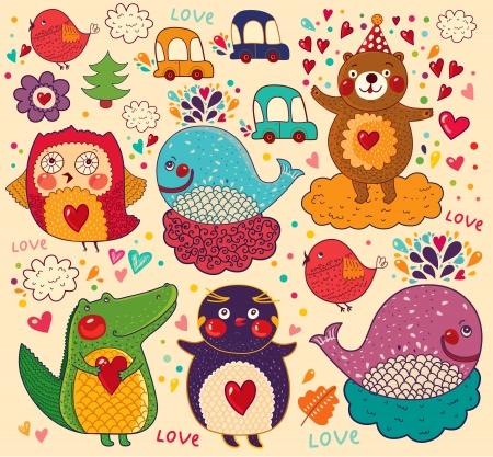 ni�os dibujando: Vector conjunto de animales divertidos y felices