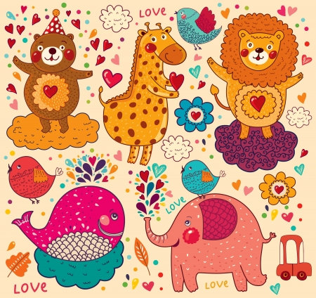 Vector set of funny, happy animals