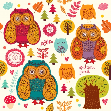 Vector seamless pattern with owls and trees Vector