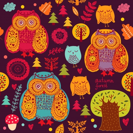 seasonal forest: Vector seamless pattern with owls and trees Illustration